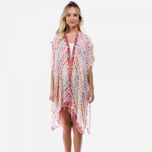 "Lightweight Paint Drop Pattern Kimono.   - One Size Fits Most 0-14 - Approximately 35"" L - 100% Viscose"