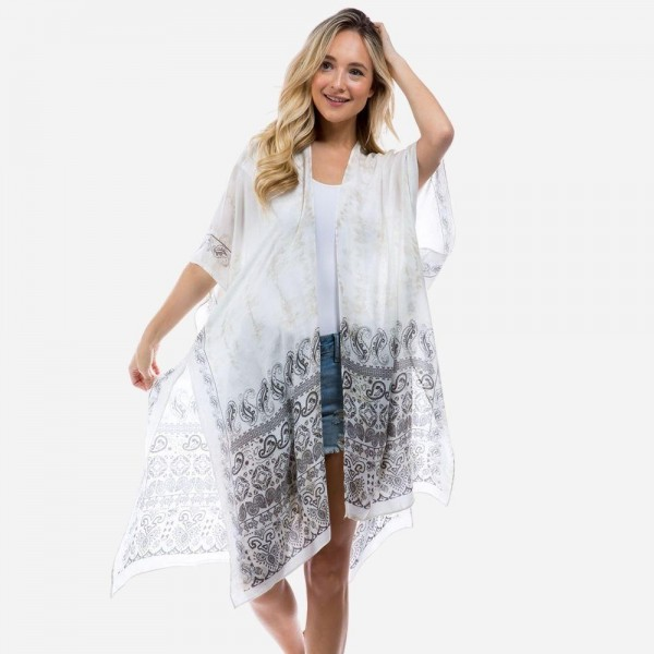 """Lightweight Tie Dye Kimono Featuring Paisley Accents.   - One Size Fits Most 0-14 - Approximately 35"""" L - 100% Viscose"""