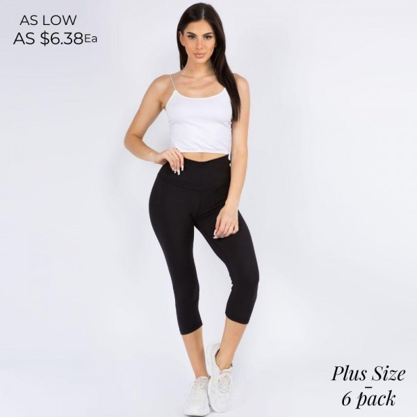 Plus Size Casual Capri Length Leggings Featuring a Wide, High Rise Waistband for Tummy Support. (6 Pack)  • Wide, High Rise Waistband Lies Flat Against Your Skin • Interior Waistband Pocket Can Hold Keys, Cards, Cash • Flattering Seam Detail • Peach Skin • Long Skinny Leg Design • Comfortable and Easy Pull-Up Style  Content: 90% Polyester, 10% Spandex  Pack Breakdown: 6pcs/pack. 3L/XL:3XL/XXL