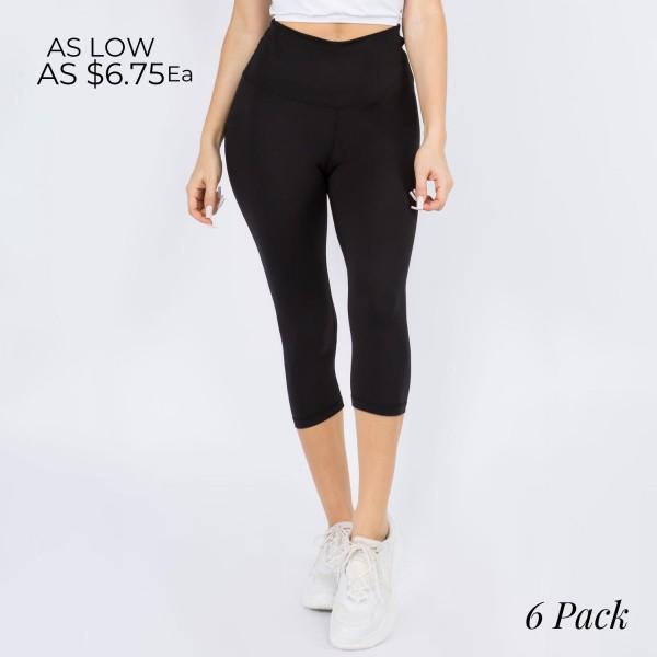 Wholesale casual Capri Leggings Rise Waistband Tummy Support Pack o Rise Waistba