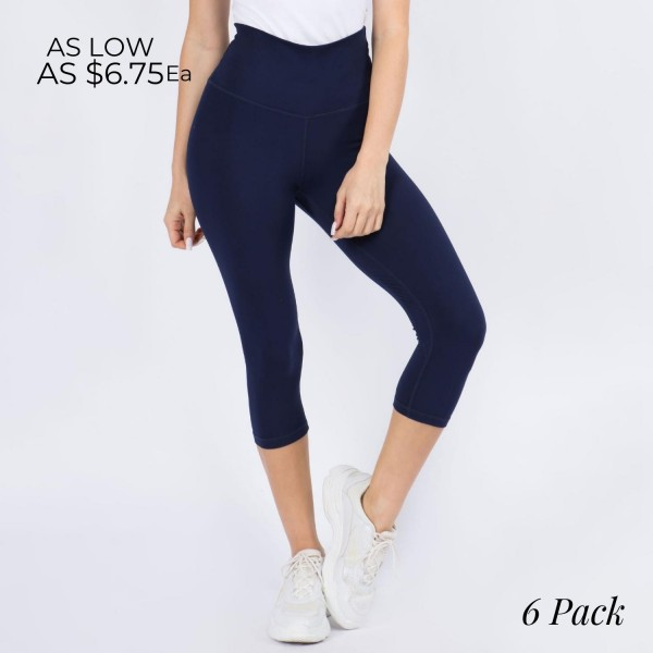 Casual Capri Length Leggings Featuring a Wide, High Rise Waistband for Tummy Support. (6 Pack)  • Wide, High Rise Waistband Lies Flat Against Your Skin • Interior Waistband Pocket Can Hold Keys, Cards, Cash • Flattering Seam Detail • Peach Skin • Long Skinny Leg Design • Comfortable and Easy Pull-Up Style  Content: 90% Polyester, 10% Spandex  Pack Breakdown: 6pcs/pack. 3S/M-3M/L