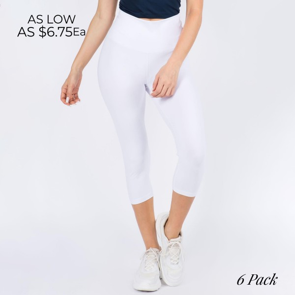 Casual Capri Length Leggings Featuring a Wide, High Rise Waistband for Tummy Support. (6 Pack)  • Wide, High Rise Waistband Lies Flat Against Your Skin • Interior Waistband Pocket Can Hold Keys, Cards, Cash • Flattering Seam Detail • Peach Skin • Long Skinny Leg Design • Comfortable and Easy Pull-Up Style  Content: 90% Polyester, 10% Spandex  Pack Breakdown: 6pcs/pack. 3S/M- 3M/L