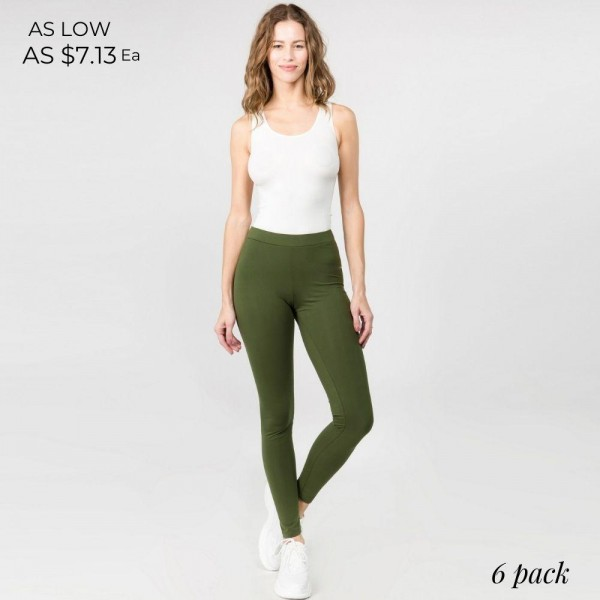 Full Length Leggings Featuring High Rise Waistband. (6 Pack)  • Elasticized High Rise Waistband • Fit Like a Glove • Pull On/Off Design • Soft and Stretchy  Content: 92% Cotton, 8% Spandex  Pack Breakdown: 6pcs/pack. 2S: 2M: 2L