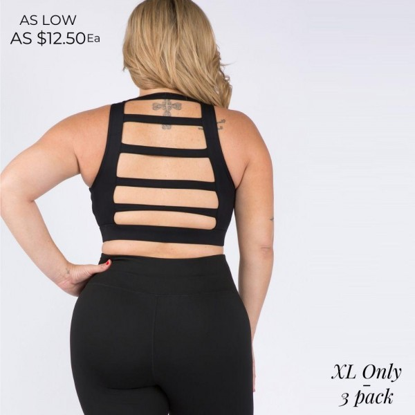 Plus Size Sports Bra Featuring a Lattice Open-Back Design and High Neckline for Total Support. (3 Pack)   • High Neckline • Elasticized Hem • Two Removable Pads Provide Support & Shaping • Lattice Open-Back Detail • Moisture Wicking Fabric • 4-way Stretch for a Move-With-You Feel • Comfortable • Pullover Styling  Composition: 75% Nylon, 25% Spandex  Pack Breakdown: 3pcs/pack. XL Size Only