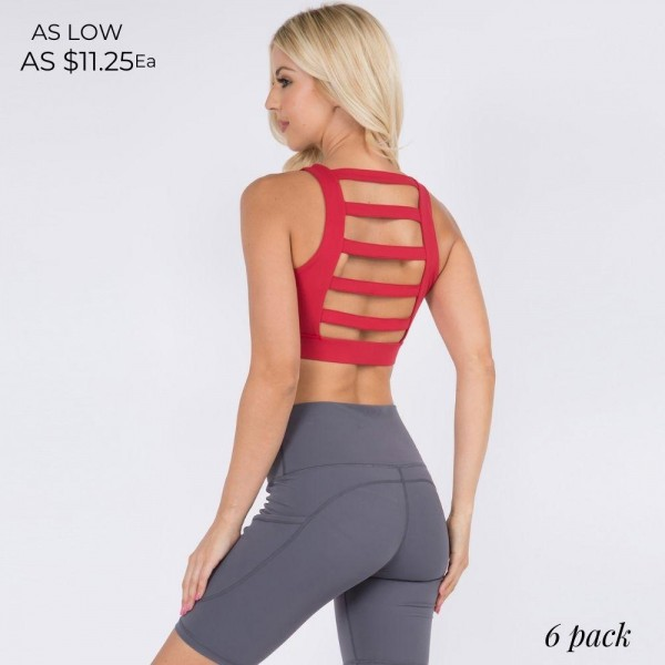 Sports Bra Featuring a Lattice Open-Back Design and High Neckline for Total Support. (6 Pack)  • High Neckline • Elasticized Hem • Two Removable Pads Provide Support & Shaping • Lattice Open-Back Detail • Moisture Wicking Fabric • 4-way Stretch for a Move-With-You Feel • Comfortable • Pullover Styling  Composition: 75% Nylon, 25% Spandex  Pack Breakdown: 6pcs/pack. 2S: 2M: 2L