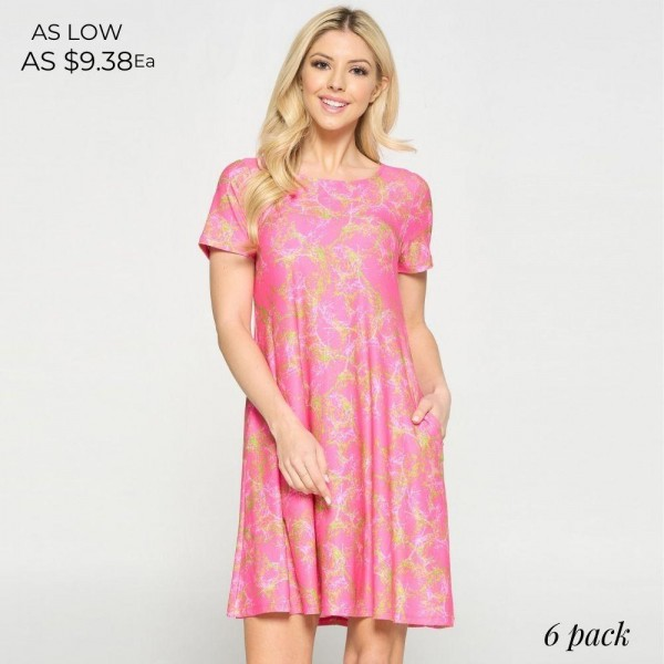 Flowy Printed Dress Featuring Pockets. (6 Pack)  • Short Sleeves • Round Neckline • Two Side Pockets  • Flowy Silhouette • Above the Knee Length • Soft and Comfortable Fabric with Stretch • Pullover styling  Content: 95% Polyester, 5% Spandex  Pack Breakdown: 6pcs/pack. 2S: 2M: 2L