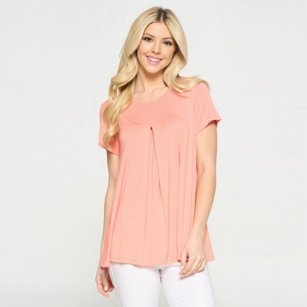 Flowy Tunic Top Featuring Pleat Detail. (6 Pack)  • Short Sleeves • Round Neckline • Pleat Detail on Front • Flowy Silhouette • Keyhole on the Back • Soft and Comfortable Fabric with Stretch • Pullover Styling  Content: 95% Rayon, 5% Spandex  Pack Breakdown: 6pcs/pack. 2S: 2M: 2L