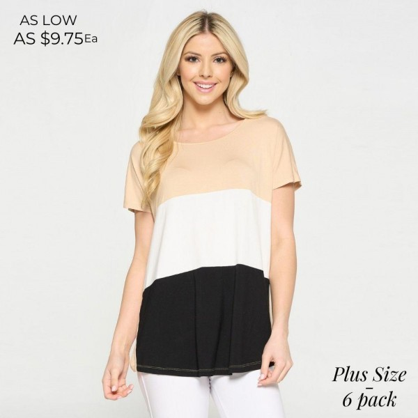 Plus Size Short Sleeved Striped Tunic Top. (6 Pack)  • Short Sleeves • Round Neckline • Colorblock Detail on Front • Flowy Silhouette • Soft and Comfortable Fabric with Stretch • Pullover Styling  Content: 95% Rayon, 5% Spandex  Pack Breakdown: 6pcs/pack. 2XL:2XXL:2XXXL