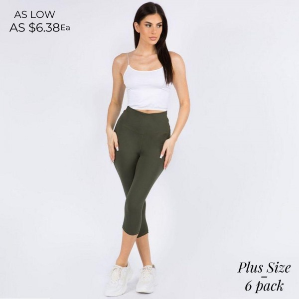 Plus Size Casual, Capri-Length Leggings Featuring a Wide, High Rise Waistband for Tummy Support.   • Wide, High Rise Waistband Lies Flat Against Your Skin • Interior Waistband Pocket Can Hold Keys, Cards, Cash • Flattering Seam Detail • Peach Skin • Comfortable & Easy Pull-Up Style   Content: 90% Polyester, 10% Spandex  Pack Breakdown: 6pcs/pack. 3 L/XL : 3 XL/ XXL