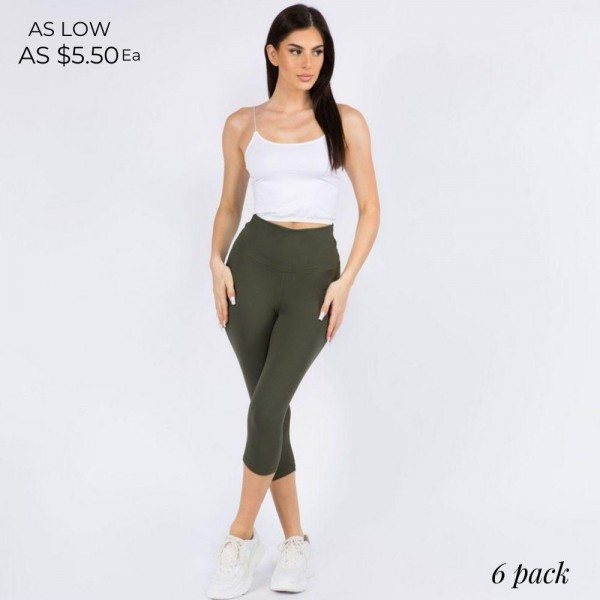 Casual, Capri-Length Leggings Featuring a Wide, High Rise Waistband for Tummy Support.   • Wide, High Rise Waistband Lies Flat Against Your Skin • Interior Waistband Pocket Can Hold Keys, Cards, Cash • Flattering Seam Detail • Peach Skin • Comfortable & Easy Pull-Up Style   Content: 90% Polyester, 10% Spandex  Pack Breakdown: 6pcs/pack. 3SM:3ML