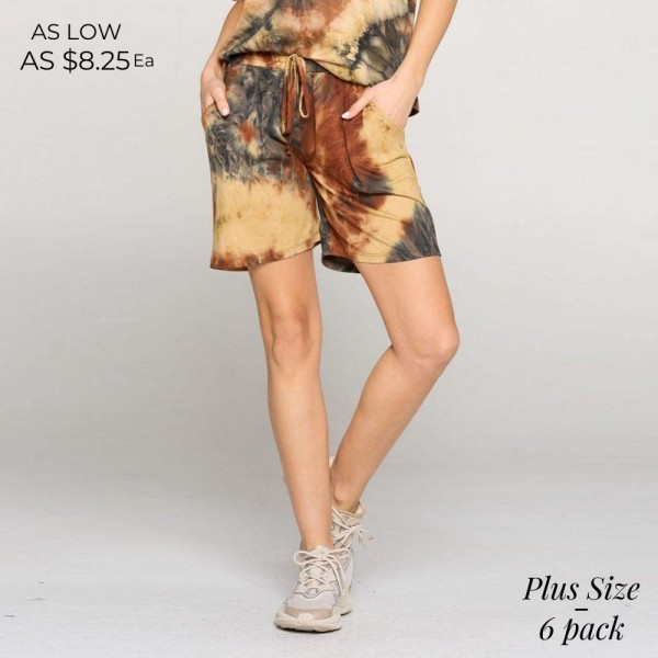 Plus Size Tie-Dye Shorts Featuring an Elasticized Waistband, Two Pockets and a Mid-Thigh Length Hem.  • Elasticized Waistband • Faux Drawstring • Relaxed Fit • Soft and Stretchy  Composition: 95% Polyester, 5% Spandex  Pack Breakdown: 6pcs/pack. 2XL /  2XXL / 2XXXL