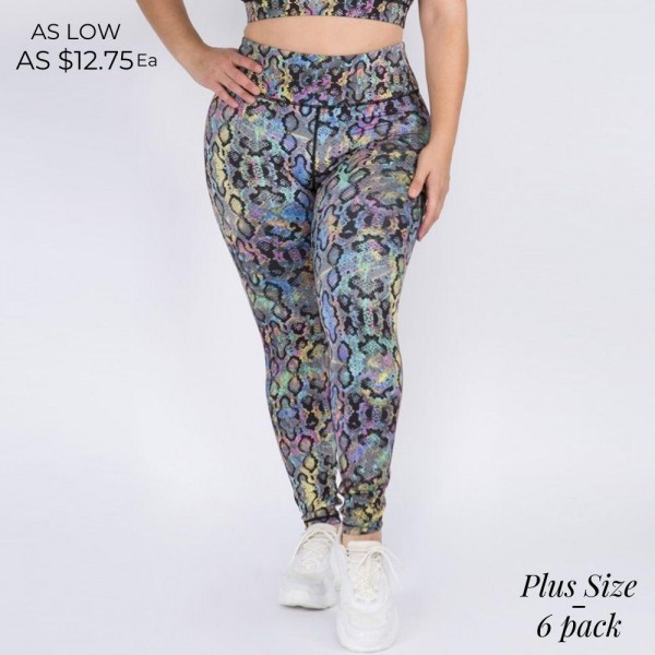 Plus Size Snakeskin Activewear Leggings featuring a 4-way Stretch Design.   • High Rise Elasticized Waistband • Iridescent Snakeskin Print • 4-Way Stretch for a Move-With-You Feel • Flatlock Seams Prevent Chafing • Full Length Design • Triangle Crotch Gusset Eliminates Camel Toe • Moisture Wicking Fabric • Pull On/Off Styling  Composition: 46% Polyester, 41% Nylon, 13% Spandex  Pack Breakdown: 6pcs/pack. 2XL:2XXL:2XXXL