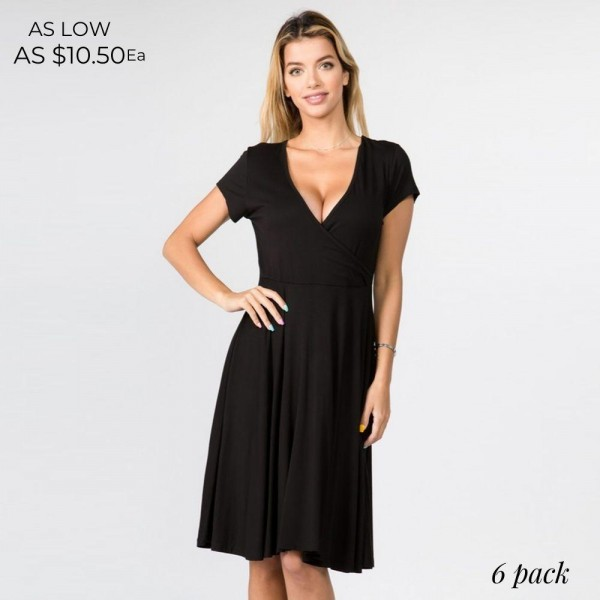 A-Line Swing Dress Featuring a V Neckline. (6 Pack)   - Short Sleeves - V-Neckline - Surplice Front Wrap - Swing Loose Silhouette - Soft & Comfortable Fabric With Stretch - Pullover Styling - Knee Length - 95% Rayon, 5% Spandex - Pack Breakdown: 6pcs/pack. 2S: 2M: 2L