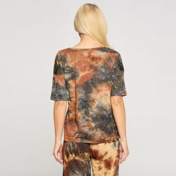 Plus Size Comfy Tie Dye T-Shirt Featuring a Dropped Shoulder Design, Mid-Length Short Sleeves, and a V-Cut Neckline.   • Tie-Dye Design • Dropped Shoulder Seams • Mid-Length Short Sleeve • Short Sleeves • V-Neck • Relaxed Fit • Soft and Stretchy  Composition: 95% Polyester, 5% Spandex  Pack Breakdown: 6pcs/pack. 2XL / 2XXL / 2XXXL