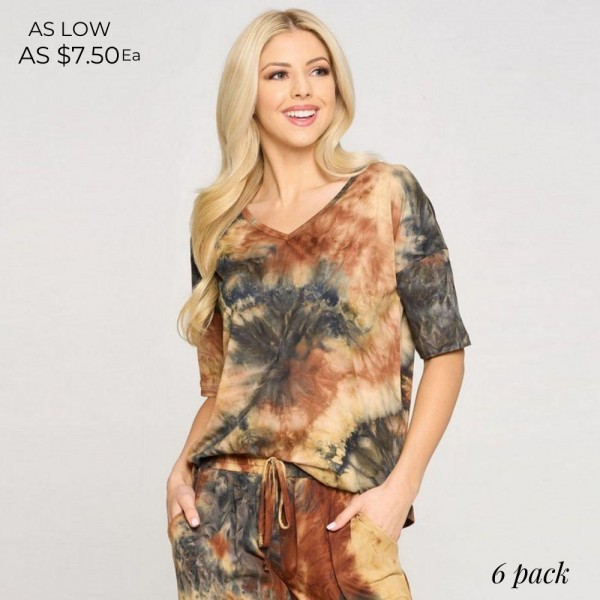 Comfy Tie Dye T-Shirt Featuring a Dropped Shoulder Design, Mid-Length Short Sleeves, and a V-Cut Neckline.   • Tie-Dye Design • Dropped Shoulder Seams • Mid-Length Short Sleeve • Short Sleeves • V-Neck • Relaxed Fit • Soft and Stretchy  Composition: 95% Polyester, 5% Spandex  Pack Breakdown: 6pcs/pack. 2S: 2M: 2L