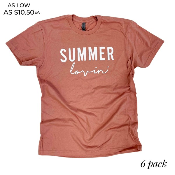 Summer Lovin' Graphic Tee.  - Printed on a Next Level Brand Tee - Color: Desert Pink - 6 Shirts Per Pack - Sizes: 1:S 2:M 2:L 1:XL - 100% Cotton  * Regularly priced items.