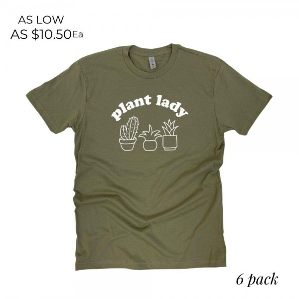"""""""Plant Lady"""" Graphic Tee.  - Printed on a Next Level Brand Tee - Color: Light Olive - 6 Shirts Per Pack - Sizes: 1:S 2:M 2:L 1:XL - 100% Cotton"""