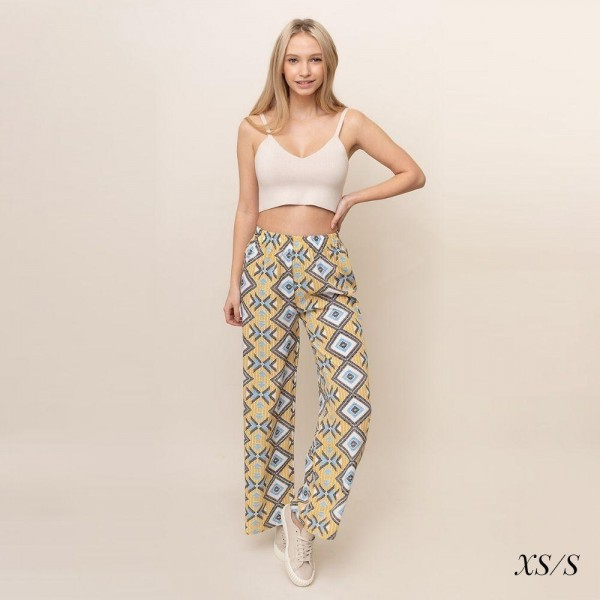 Geo printed palazzo pants.  Size S/M  - 55% cotton 45% polyester