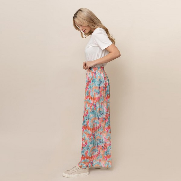 """Tie-Dye Print Palazzo Pants.   - One Size Fits 0-14 - 55% Cotton, 45% Polyester - 29"""" Inseam, Approximately 35"""" L Overall"""