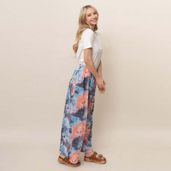 """Tie-Dye Print Palazzo Pants.   - One Size Fits Most 0-14 - 55% Cotton, 45% Polyester  - Inseam 27"""", Approximately 35"""" L"""