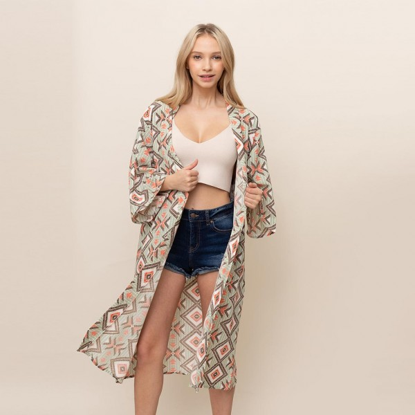 "Geometric Print Long Kimono.   - One Size Fits Most 0-14 - 100% Polyester  - Approximately 45"" L"