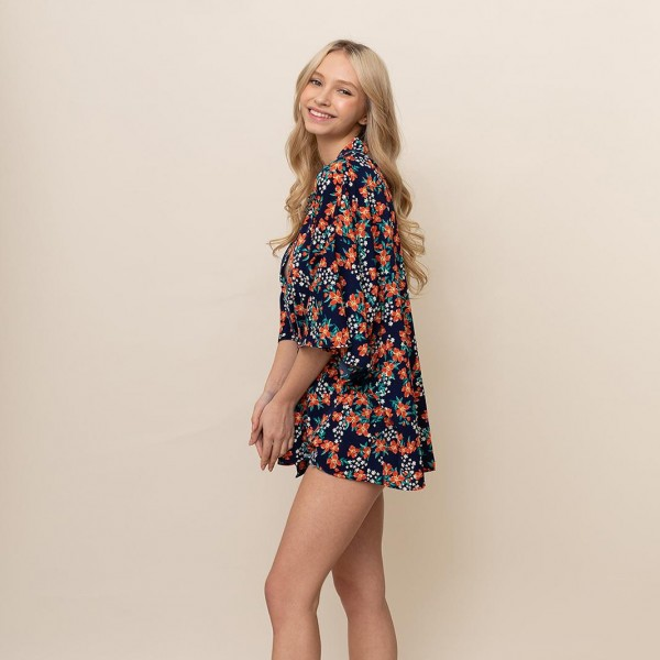 Floral Front Tie Cropped Kimono.   - One Size Fits Most 0-14 - 100% Polyester