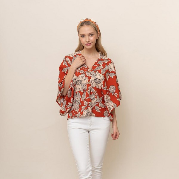 Floral Button Down Top   - One Size Fits Most 0-14 - 100% Polyester