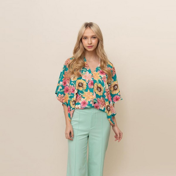 """Floral Button Down Top.   - One Size Fits Most 0-14 - 100% Polyester - Approximately 25"""" L"""