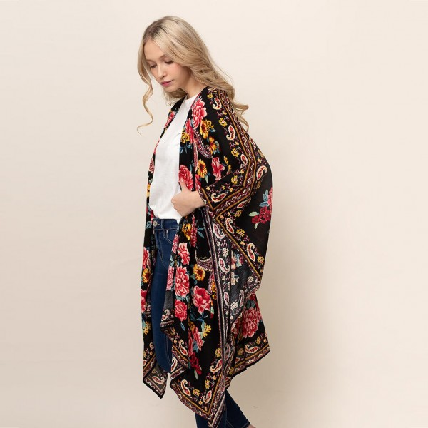 "Paisley Floral Print Kimono.   - One Size Fits Most 0-14 - 100% Viscose - Approximately 35"" L"