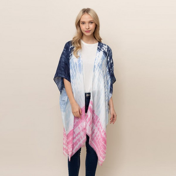 """Lightweight Tie Dye Kimono.   - One Size Fits Most  - 100% Polyester  - Approximately 34"""" L"""