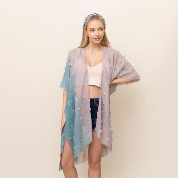 "Ombre Kimono Featuring Pom Pom Accents.   - One Size Fits Most 0-14 - 100% Polyester  - Approximately 36"" L"