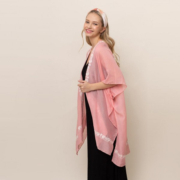 "Lightweight Kimono Featuring Embroided Paisley Accents.   - One Size Fits Most 0-14 - 65% Polyester, 35% Viscose - Approximately 35"" L"