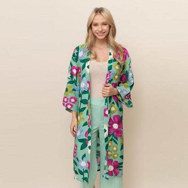 Wholesale long Floral Kimono One Fits Most Viscose L