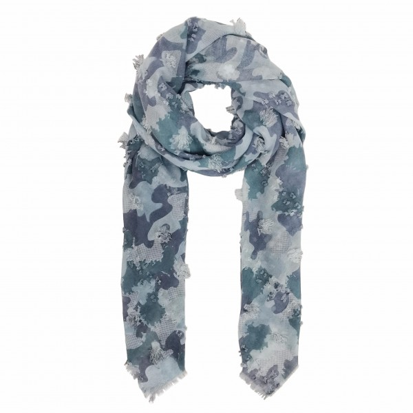 Lightweight Camouflage Scarf Featuring Pom Pom Accents.   - One Size - 100% Polyester