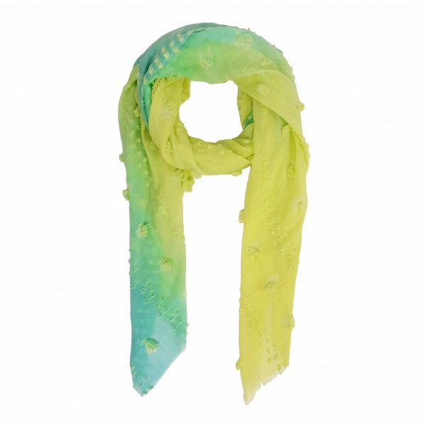 """Ombre Scarf Featuring Pom Pom Accents.   - One Size Fits Most 0-14 - 100% Polyester - Approximately 35"""" L"""