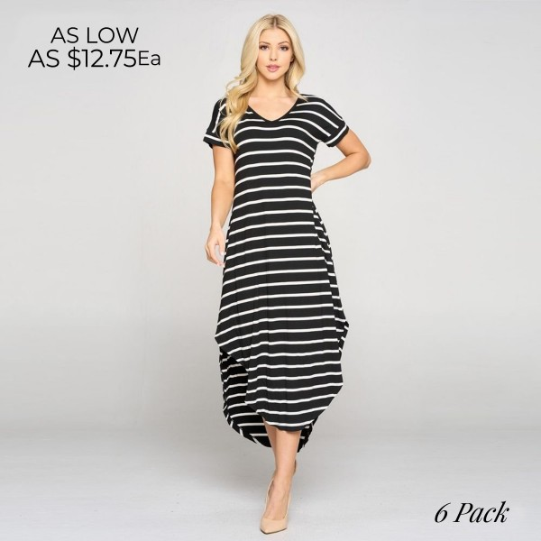 Wholesale striped Midi Dress Rounded Midi Hem Cap Sleeves Two Pockets Hip Pack o