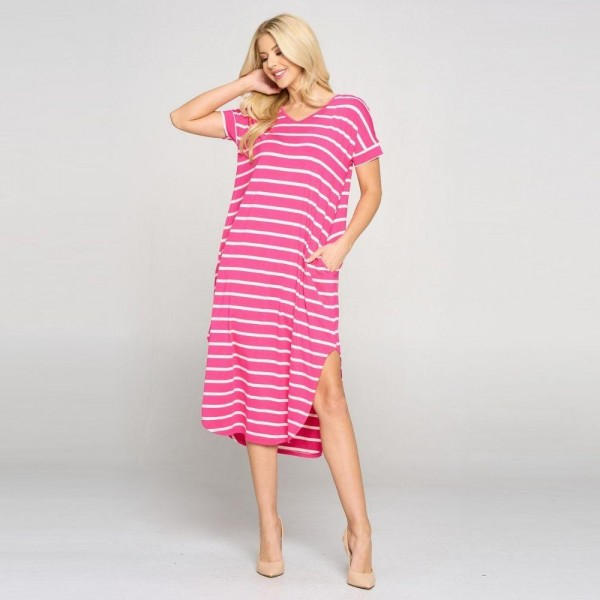 Striped Midi Dress Featuring a Rounded Midi Hem, Cap Sleeves and Two Pockets on Each Hip. ( 6 Pack)  • V neckline • Flowy shift silhouette • Midi length hem • Short sleeves • Two pockets on each hip • Rounded/Curved hem • Soft and comfortable with a stretch • Soft and stretchy  Content: 95% Rayon, 5% Spandex  Pack Breakdown: 6pcs/pack. 2S: 2M: 2L