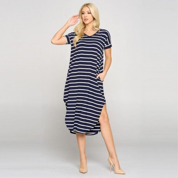 Striped Midi Dress Featuring a Rounded Midi Hem, Cap Sleeves and Two Pockets on Each Hip. (6 Pack)  • V neckline • Flowy shift silhouette • Midi length hem • Short sleeves • Two pockets on each hip • Rounded/Curved hem • Soft and comfortable with a stretch • Soft and stretchy  Content: 95% Rayon, 5% Spandex  Pack Breakdown: 6pcs/pack. 2S: 2M: 2L