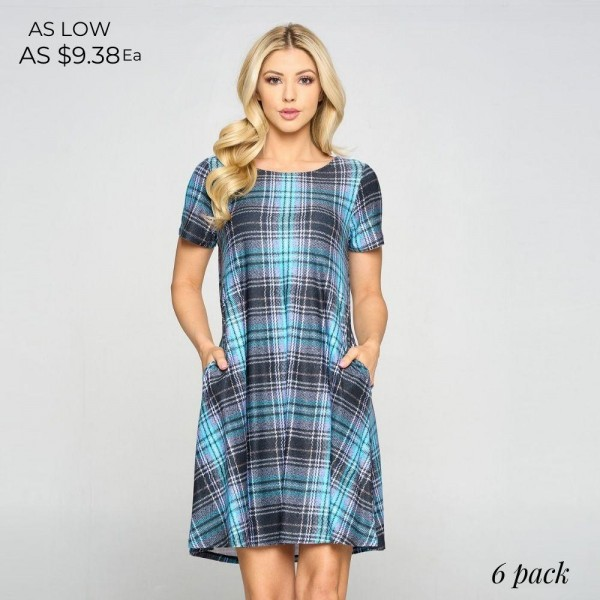 Short Sleeve Plaid A-Line Dress Featuring Front Pockets. (6 Pack)   • Plaid Pattern • Short Sleeves • Round Neckline • Two Side Pockets  • A-Line Silhouette • Soft and Comfortable Fabric with Stretch • Knee Length Hem • Pullover Styling  - 6 Dresses Per Pack  Content: 90% Polyester, 10% Spandex  Pack Breakdown: 6pcs/pack. 2S: 2M: 2L