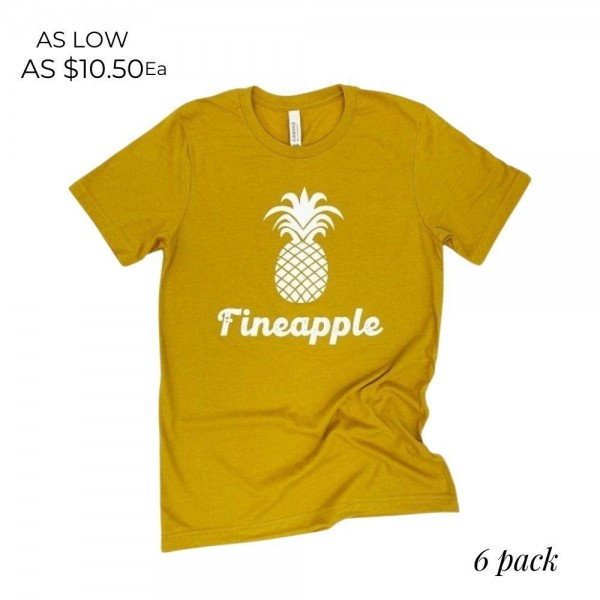Fineapple Graphic Tee.   - Printed on a Bella Canvas Brand Tee - Color: Mustard - 6 Shirts Per Pack  - Sizes: 1-S / 2-M / 2-L / 1-XL - 52% Cotton / 48% Polyester