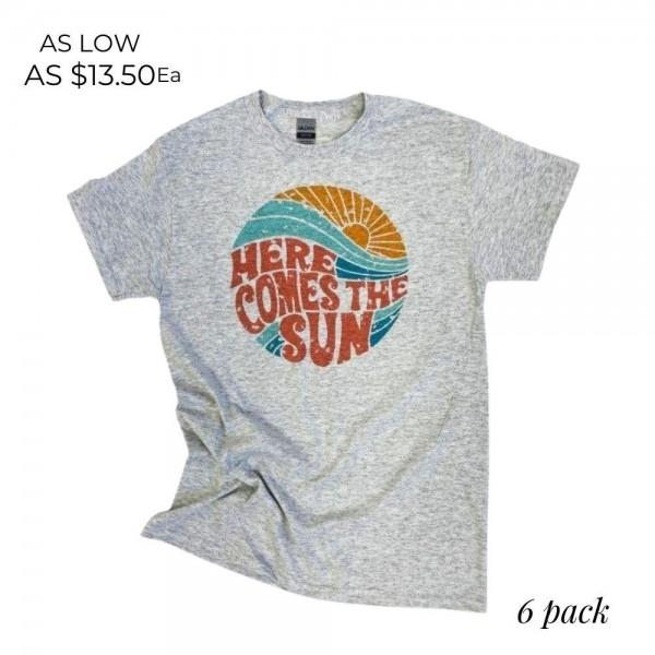 Wholesale here Comes Sun Graphic Tee Printed Gildan Brand Tee Color Grey Shirts