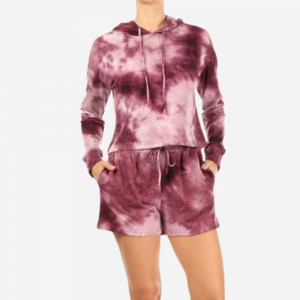 Red Tie Dye French Terry Lined 2-Piece Loungwear Set. Matching Set Includes Matching Pullover Hoodie and Drawstring Shorts. (6 Pack)   - Hoodie Top Features Front Pocket & Draw Strings - Shorts Feature 2 Side Pockets & Drawstring - 6 Sets per Pack - Size: 2 S / 2 M / 2 L - 94 % Polyester / 6% Spandex