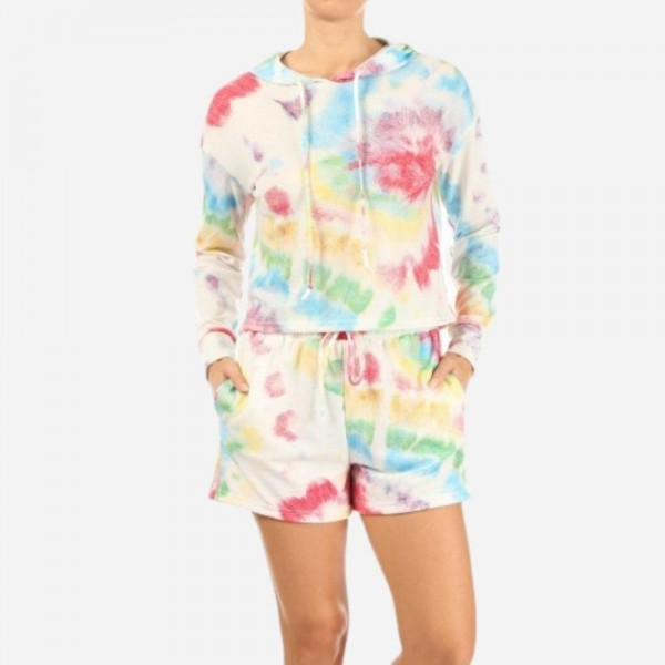 Multi-Color Tie Dye French Terry Lined 2-Piece Loungwear Set. Matching Set Includes Matching Pullover Hoodie and Drawstring Shorts. (6 Pack)   - Hoodie Top Features Front Pocket & Draw Strings - Shorts Feature 2 Side Pockets & Drawstring - 6 Sets per Pack - Size: 2 S / 2 M / 2 L - 94 % Polyester / 6% Spandex