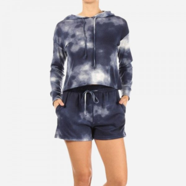 Navy Tie Dye French Terry Lined 2-Piece Loungwear Set. Matching Set Includes Matching Pullover Hoodie and Drawstring Shorts. (6 Pack)   - Hoodie Top Features Front Pocket & Draw Strings - Shorts Feature 2 Side Pockets & Drawstring - 6 Sets per Pack - Size: 2 S / 2 M / 2 L - 94 % Polyester / 6% Spandex