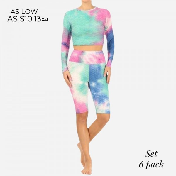 Tie Dye Activewear Matching Set Featuring Slimming, Textured, Anti- Cellulite Design. (6 Pack)   - Cropped Long Sleeve Top  - Matching High Waisted Biker Shorts - Design Features Slimming Fit and Ruched Seam on Butt for Sculpting  - 6 Sets Per Pack  - Sizes: 2 S / 2 M / 2 L  - 93 % Polyester, 7% Spandex