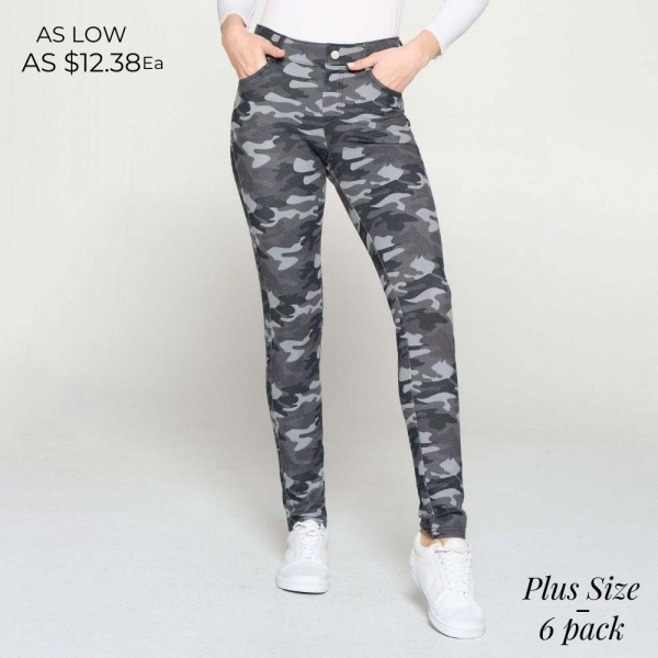 Plus Size Camouflage Print Jeggings Featuring Five Functional Pockets and Belt Loops. (6 Pack)  • Full length jeggings featuring a light sheen and jean-style construction • Lightweight, breathable cotton-blend material for all day comfort • Belt loops with 5 functional pockets • Super Stretchy • Shake Head Button • Pull up Style  Composition: 70% Cotton, 25% Polyester, 5% Spandex  Pack Breakdown: 6pcs/pack. 3XL:2XXL:1XXXL