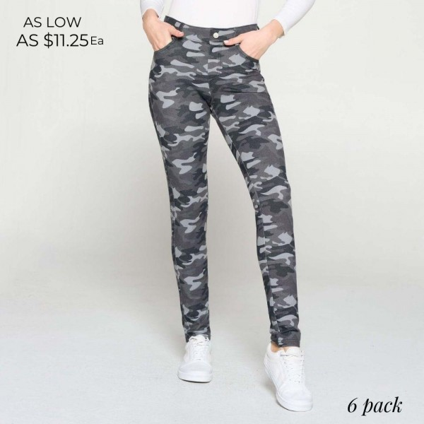 Camouflage Print Jeggings Featuring Five Functional Pockets and Belt Loops. (6 Pack)  • Full length jeggings featuring a light sheen and jean-style construction • Lightweight, breathable cotton-blend material for all day comfort • Belt loops with 5 functional pockets • Super Stretchy • Shake Head Button • Pull up Style  Composition: 70% Cotton, 25% Polyester, 5% Spandex  Pack Breakdown: 6pcs/pack. 2S: 2M: 2L