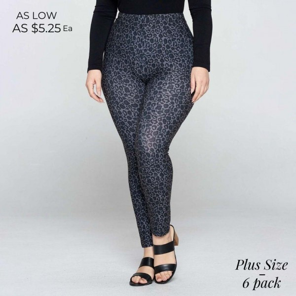 Plus Size Leopard Print Leggings Featuring High Rise Waistband. (6 Pack)   • Long, skinny leg design • High rise • Elasticized waistband • Classic Leopard Print • Pull-on styling • Super soft peach skin fabric with stretch • Full length • Fits like a glove • Hand Wash Cold. Do not bleach. Hang Dry • Imported  Composition: 95% Polyester, 5% Spandex  Pack Breakdown: 6pcs/pack. Plus Size