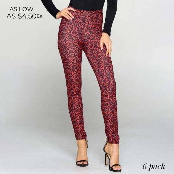 Leopard Print Leggings Featuring High Rise Waistband. (6 Pack)  • Long, skinny leg design • High rise • Elasticized waistband • Classic Leopard Print • Pull-on styling • Super soft peach skin fabric with stretch • Full length • Fits like a glove • Hand Wash Cold. Do not bleach. Hang Dry • Imported  Composition: 95% Polyester, 5% Spandex  Pack Breakdown: 6pcs/pack. One Size