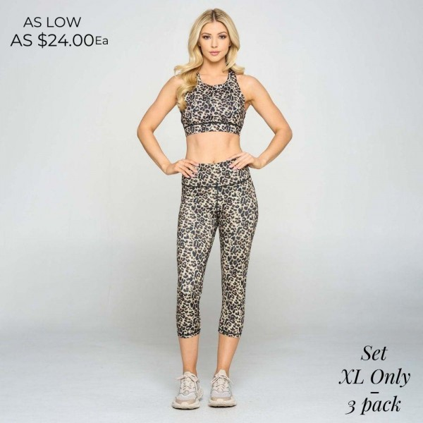 Plus Size Cheetah Print Matching Activewear Set. Matching Set Includes Leggings and Sports Bra. (3 Pack)  • High neckline • Removable padding that provides support & shaping • Racer-back design • Moisture wicking fabric • 4-way stretch for a move-with-you feel • Pull over styling •Great for low-medium impact workouts • High rise elasticized waistband • Fits like a glove • Second skin fit and feel • 4 way stretch for more movement • Moisture wick fabric • Capri length design • Squat Proof • Flat lock seams prevent chafing • Triangular Cotton Gusset Lining • Great for all low-high impact workouts  Composition: 46% Polyester, 41% Nylon, 13% Spandex  Pack Breakdown: 3pcs/pack. XL